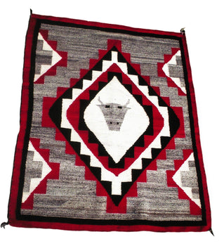 American Indian  1' to 4', ganados, navajo, pictorials, steer, weavings  Navajo Ganado Steer Head
