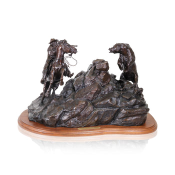Fine Art  caa, cowboy artists of america, grizzly, limited bronzes, robert scriver, when hunters meet