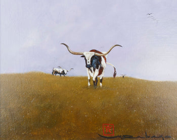 Fine Art  acrylic, longhorn, mario rabago, nez perce, paintings, paintings-western