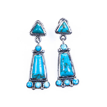 Jewelry  earrings, turquoise  Navajo Dangle Earrings