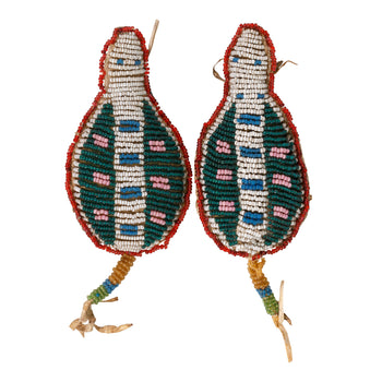 American Indian  beadwork, fetishes, sioux, turtles, umbilical fetishes  Matched Pair of Sioux Fetishes