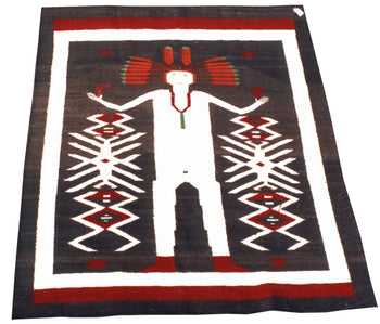 American Indian  4' to 6', navajo, pictorials, roy rodgers estate collection, weavings  Navajo with Feathered Bonnet