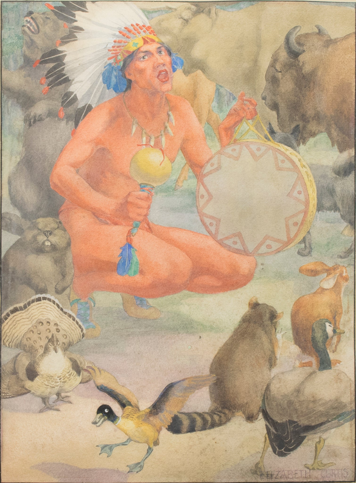 Indian Brave with Animals by Elizabeth Curtis elizabeth curtis, paintings-native, sale item, watercolor