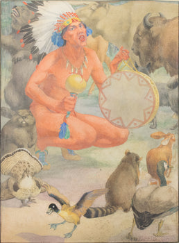 Fine Art  elizabeth curtis, fine art: painting: native american, paintings-native, sale item, watercolor  Indian Brave with Animals by Elizabeth Curtis
