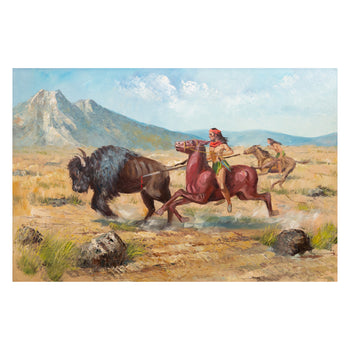 Fine Art  buffalo, fine art: painting: native american, lambert, oil, paintings, paintings-native  Buffalo Hunt by Lambert