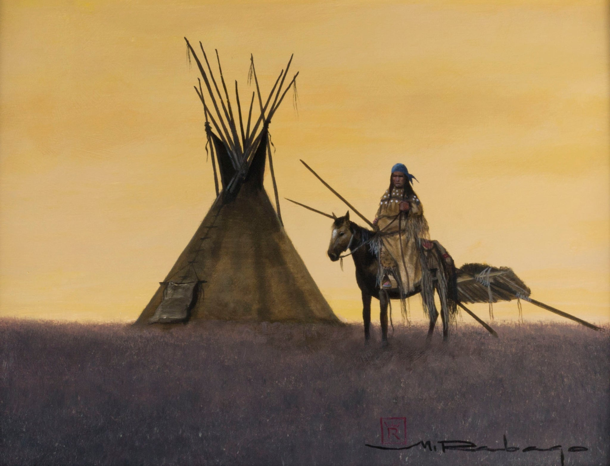 Blackfeet Lodge by Mario Rabago acrylic paintings, fine art: painting: native american, mario rabago, native, teepee paintings