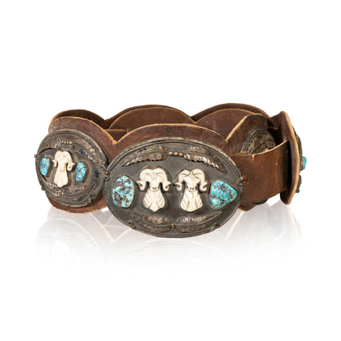Commissioned Navajo Concho Belt a, a.j.m., belts, bighorns, blue kingman mine, ivory, navajo, southwest, turquoise