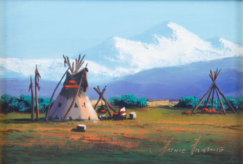 Fine Art  fine art: painting: native american, heinie harwig, oil paintings, paintings-native, teepee paintings  Montana Mountain By Heinie Hartwig