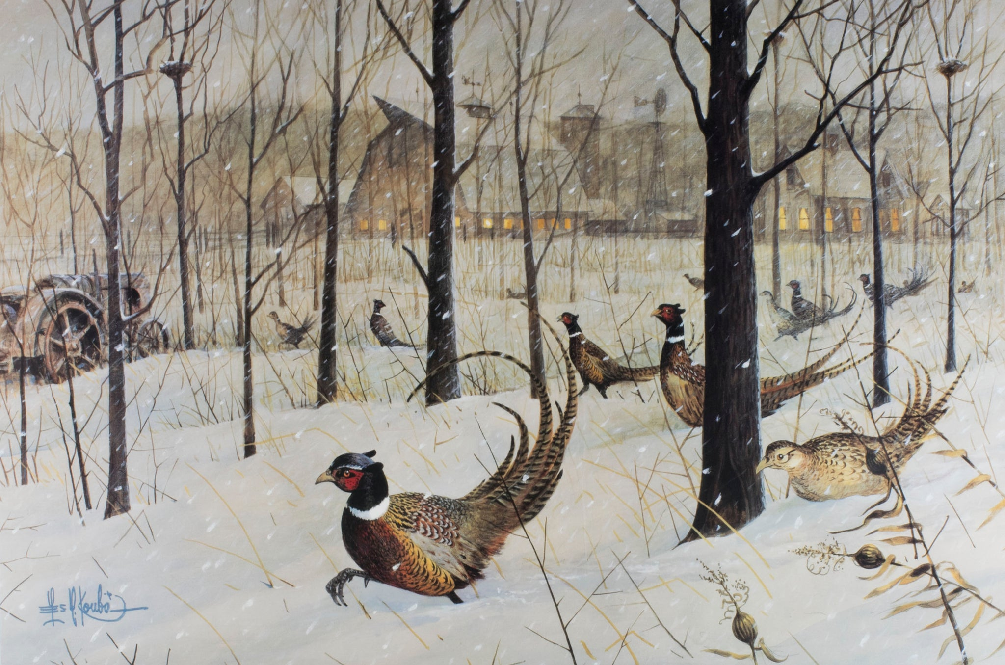 """The Blizzard"" by Les G. Kouba les g. kouba, paintings-wildlife, phesants, print, sale item"