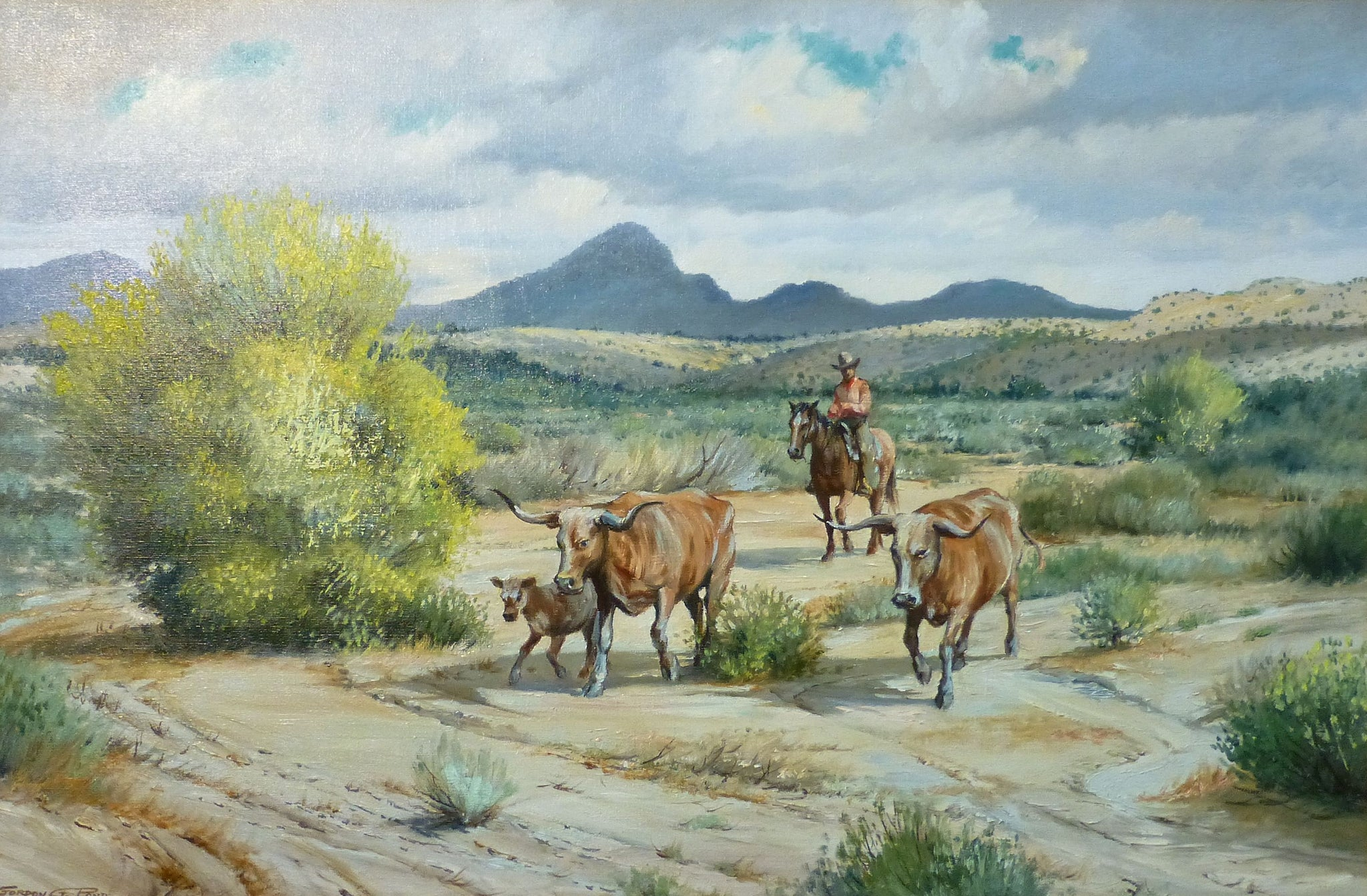 Longhorns by Gordon G. Pond gordon pond, oil, paintings, paintings-western