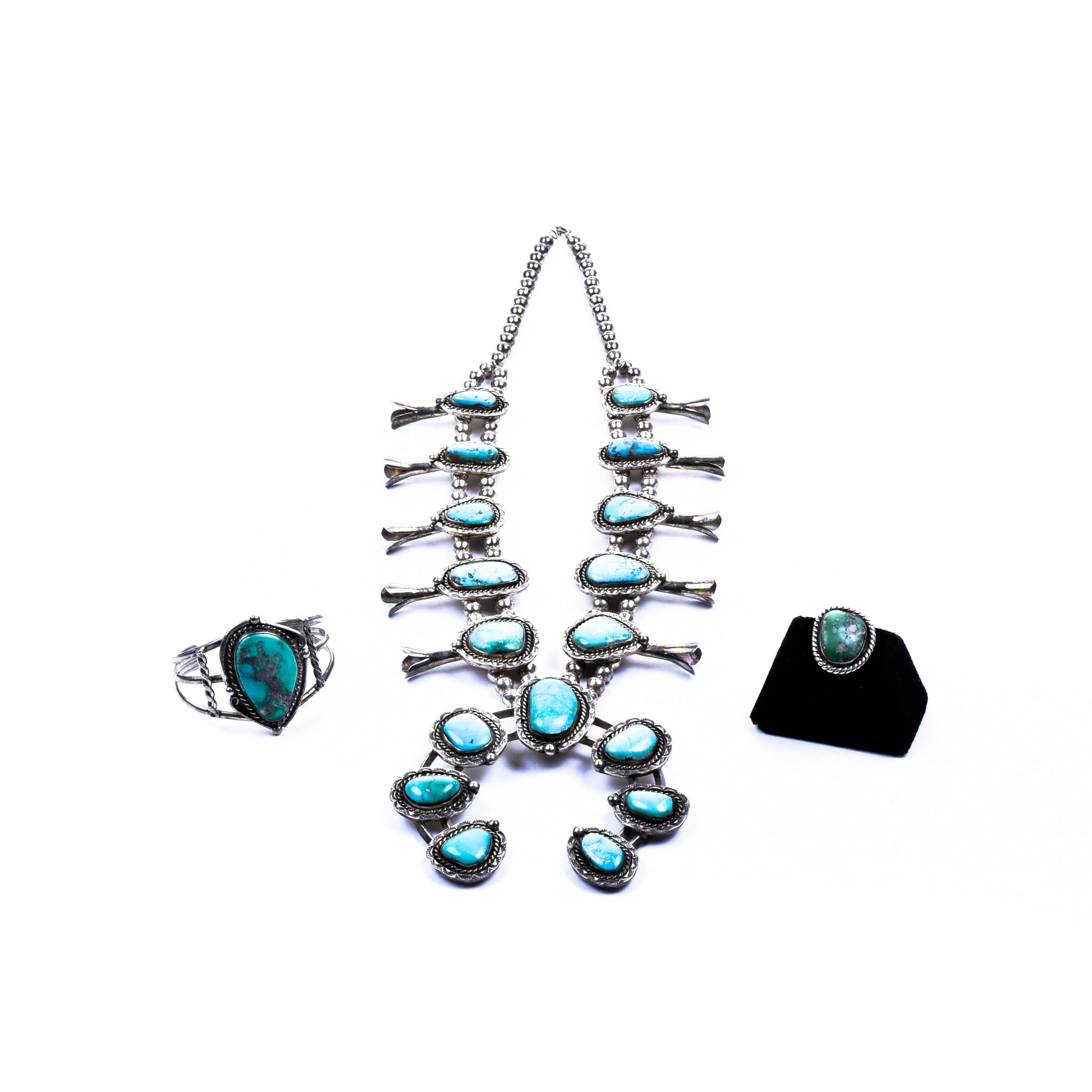 Navajo Squash Blossom Necklace Set navajo, necklaces, southwest, squash blossom, turquoise