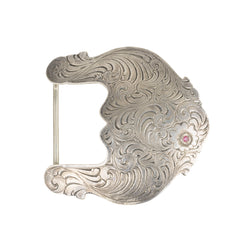 Scrollwork Belt Buckle with Ruby