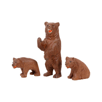 Special Collections  bears, black forest, brienz collection, carvings, miniatures  Ma and Two Cubs Bear Carving