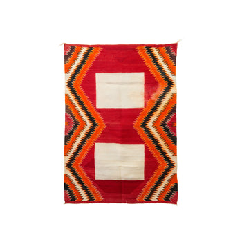 American Indian  4' - 6', american indian: weaving: navajo, double saddles, navajo, red mesa, sale item, southwest, weavings  Navajo Double Saddle Blanket