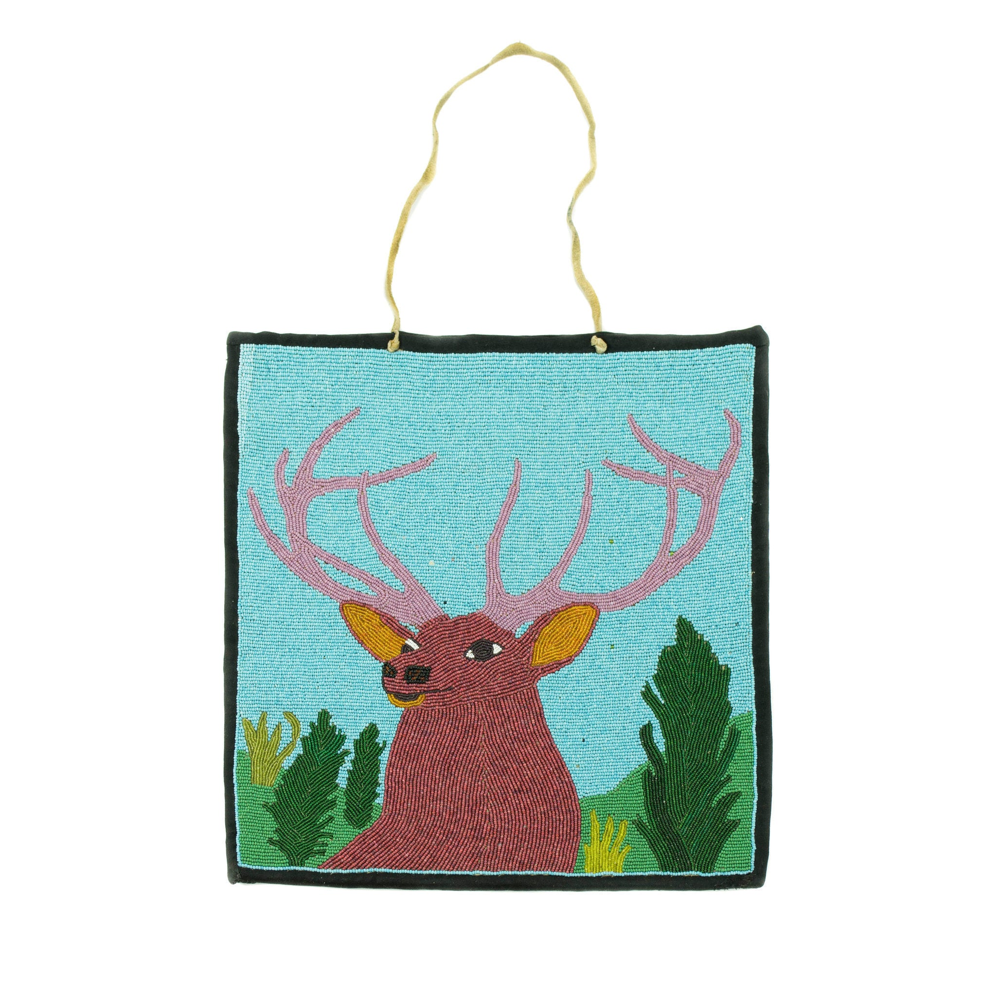 With a Stag beadwork, flatbag, nez perce, pictorial
