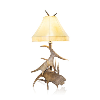 Lodge Furnishings  antler lighting, lighting, lodge furnishings: lighting: table lamp, moose, table lamps, whitetails  Sculptural Table Lamp
