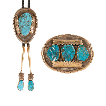 Jewelry  bolos, buckle, navajo, robert and burnice leekya, sleeping beauty, southwest, turquoise  Robert and Burnice Leekya Two-Piece Set