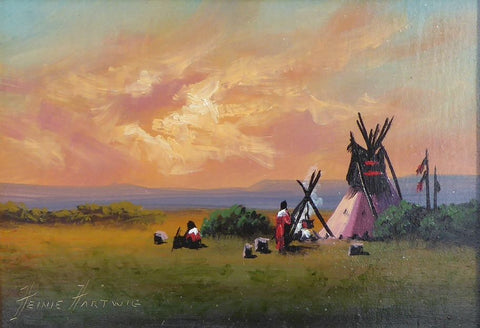 Buffalo Camp By Heinie Hartwig heinie hartwig, oil, paintings, paintings-native, teepees