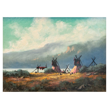 Fine Art  fine art: painting: native american, heine hartwig, oil paintings, paintings-native, teepee paintings  Below the Rockies By Heinie Hartwig