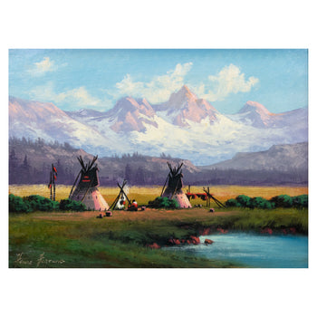Fine Art  fine art: painting: native american, heinie hartwig, oil, paintings, paintings-native, teepees  Colorado Home By Heinie Hartwig