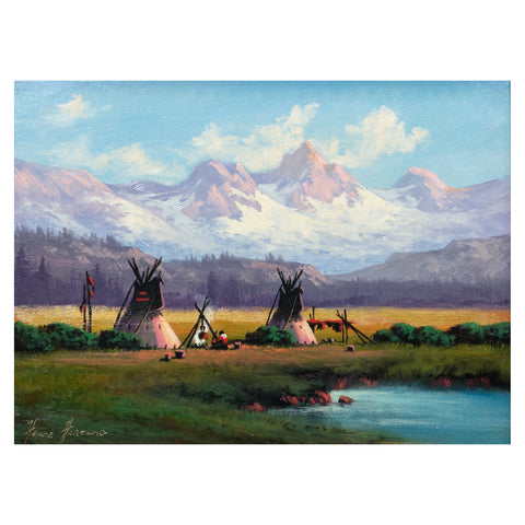 Colorado Home By Heinie Hartwig heinie hartwig, oil, paintings, paintings-native, teepees