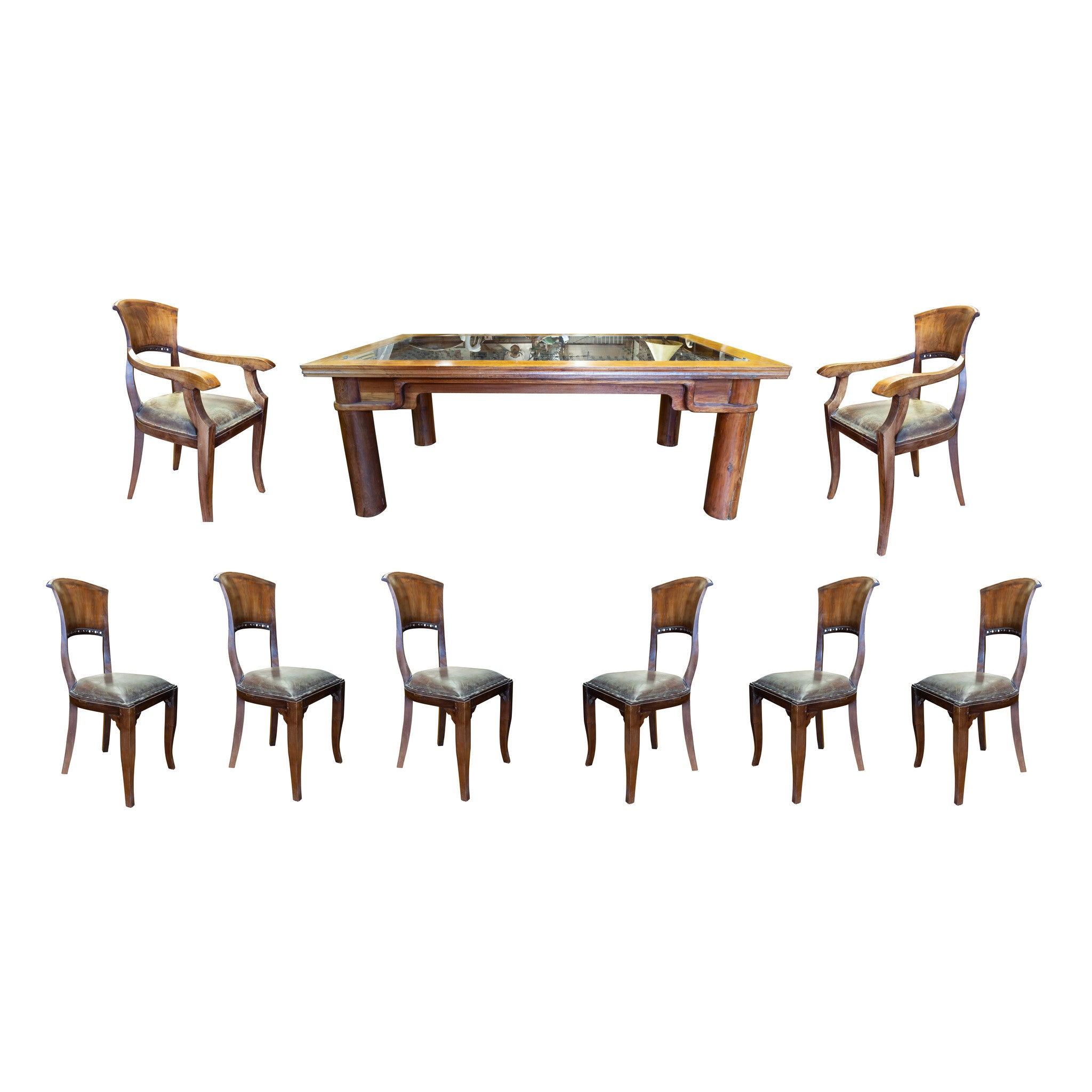 Teak Door Table and Chairs chairs, dining sets, leather, lodge furnishings: furniture: dinning table, sale item, seating, tables, teak