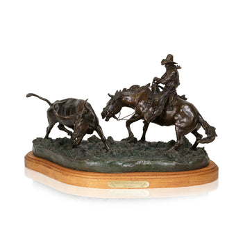 Fine Art  caa, cowboy artists of america, fine art: bronze: limited, limited bronzes, robert scriver, when cutting was tough