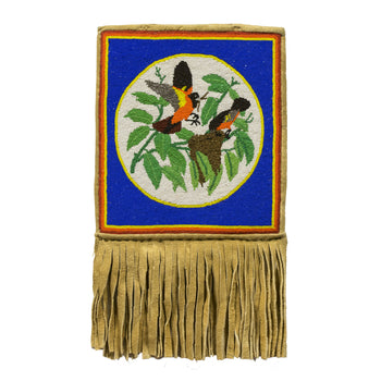American Indian  beadword, flat bags, nez perce  Two Birds Building a Nest