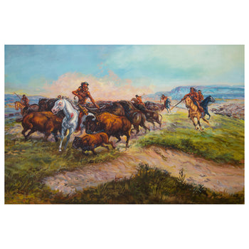 Fine Art  fine art: painting: native american, oil paintings, paintings-native, robert young  Buffalo Hunt by Robert Young