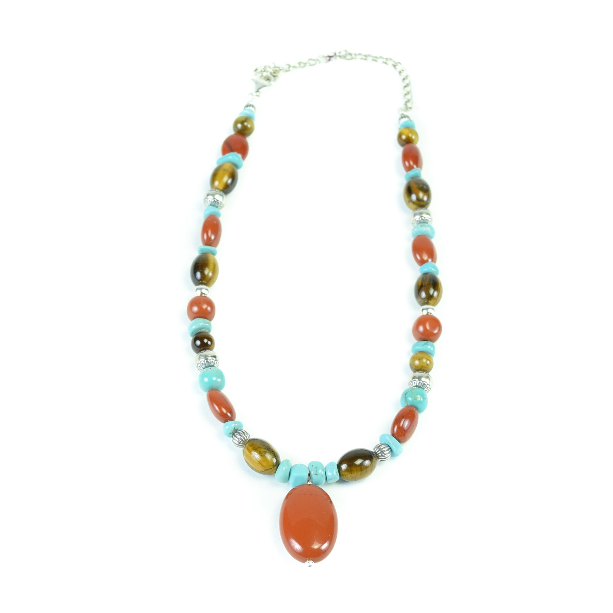 Jasper, Tiger's Eye and Turquoise jasper, necklace, southwest, tigers eye, turquoise, women's jewelry