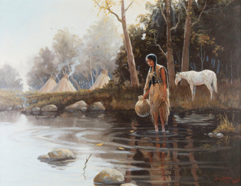 Fine Art  bill barber, fine art: painting: native american, oil, paintings-native, teepee paintings  Peaceful Waters by Bill Barber