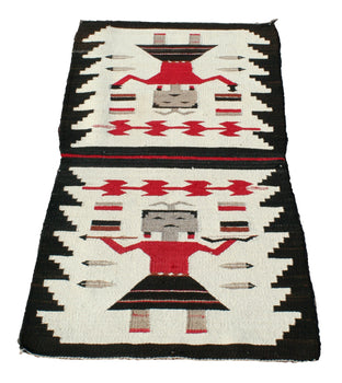 American Indian  4' to 6', double saddles, pictorials, weavings, yeis  Pictorial Double Saddle Blanket