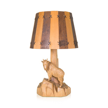Lodge Furnishings  carvings, goats, lighting  Mountain Goat Lamp