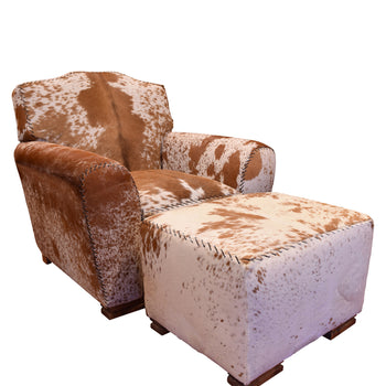 Lodge Furnishings  chair, kennedy collection, longhorn, ottoman  Brown Speckled Chair and Ottoman