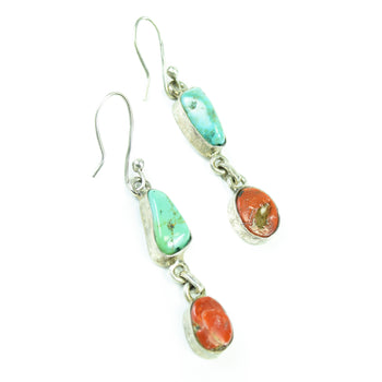 Jewelry  coral, earrings, navajo, southwest, turquoise  Navajo Turquoise and Coral Earrings