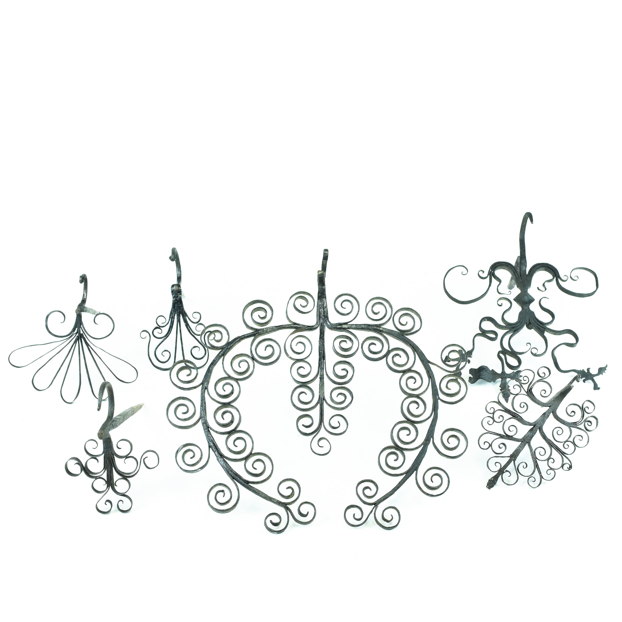 Spikes & Scrolled Decoration hooks, iron, lodge furnishings other, one of a kind