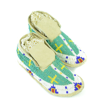 American Indian  beadwork, child's moccasins, moccasins, plains, sioux  Sioux Child's Moccasins