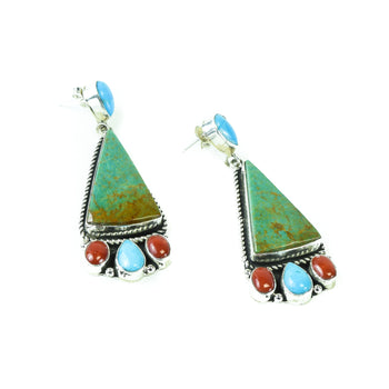 Jewelry  coral, earrings, gabby, navajo, turquoise  Navajo Turquoise Triangle Earrings
