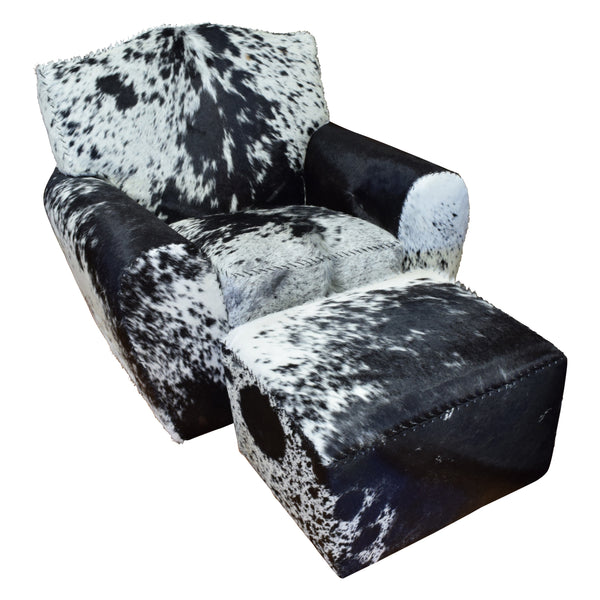 Black Speckled Longhorn Chair and Ottoman