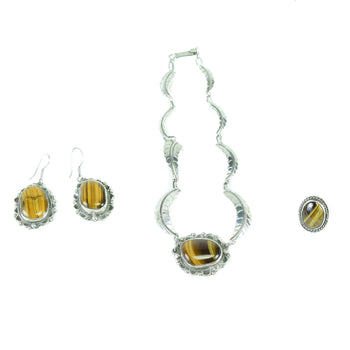 Jewelry  earrings, necklace, rings, tiger's eye three piece set  Tiger's Eye Three Piece Set