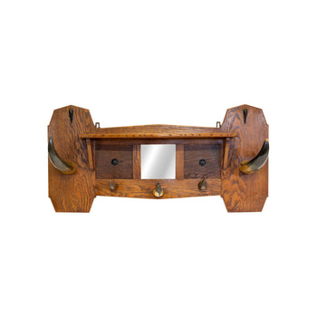 Lodge Furnishings  hat rack, horn furniture  Longhorn Hat Rack with Mirror