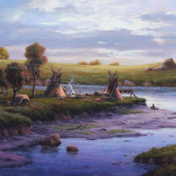 A Sunset at the River Camp by Heinie Hartwig
