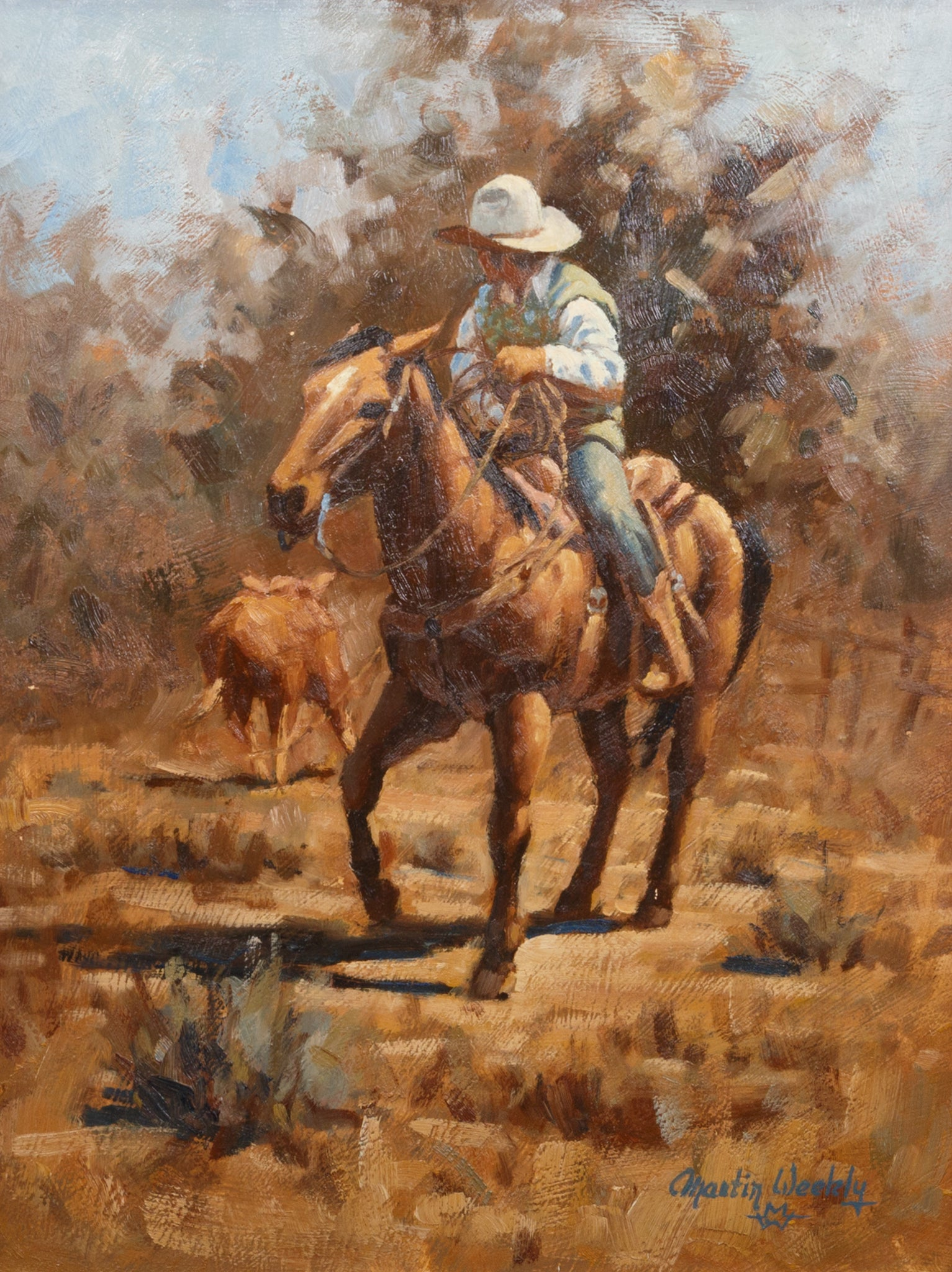 Calf Roping by Martin Weekly martin weekly, oil, paintings, paintings-western