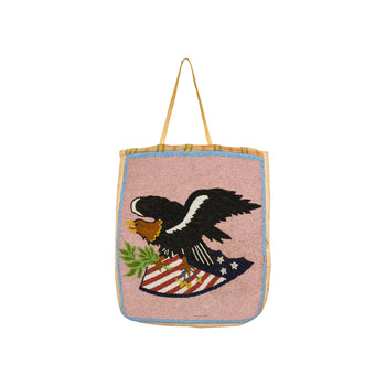American Indian  american indian: beadwork: flat bag, beadwork, eagle, flags, flatbag, native american-patriotic, nez perce, northwest, pictorials  Pictorial Flat Bag