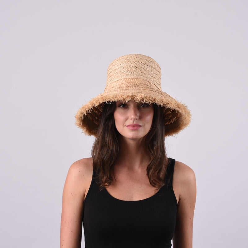Westmoor, Small Brim - Wide Braid Raffia Straw with Fringe