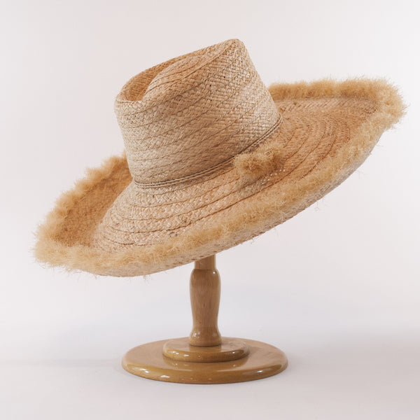 Madaket, Large Brim: Wide Braid Raffia Straw with Fringe