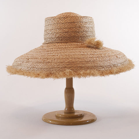 Westmoor, Large Brim: Wide Braid Raffia Straw with Fringe