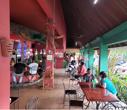 Outside dining area of Jerky's Bar & Grill in Montego Bay, Jamaica