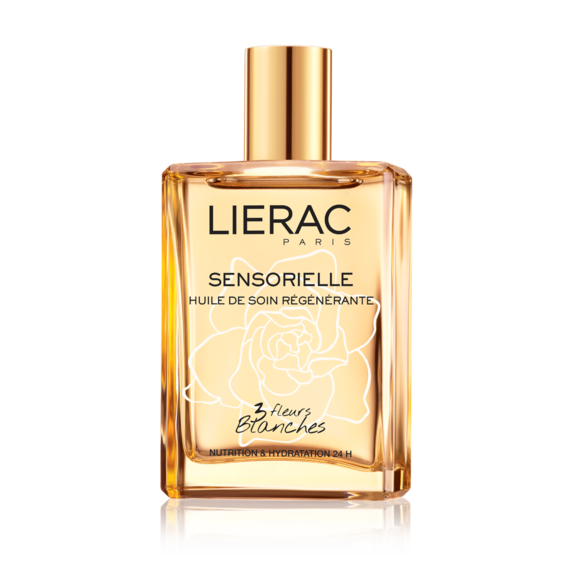 Lierac Sensorielle Regenerating oil with 3 white flowers