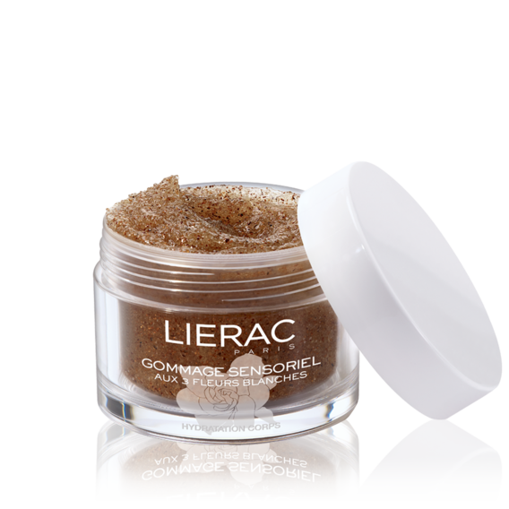 Lierac Sensorielle exfoliator with 3 white flowers